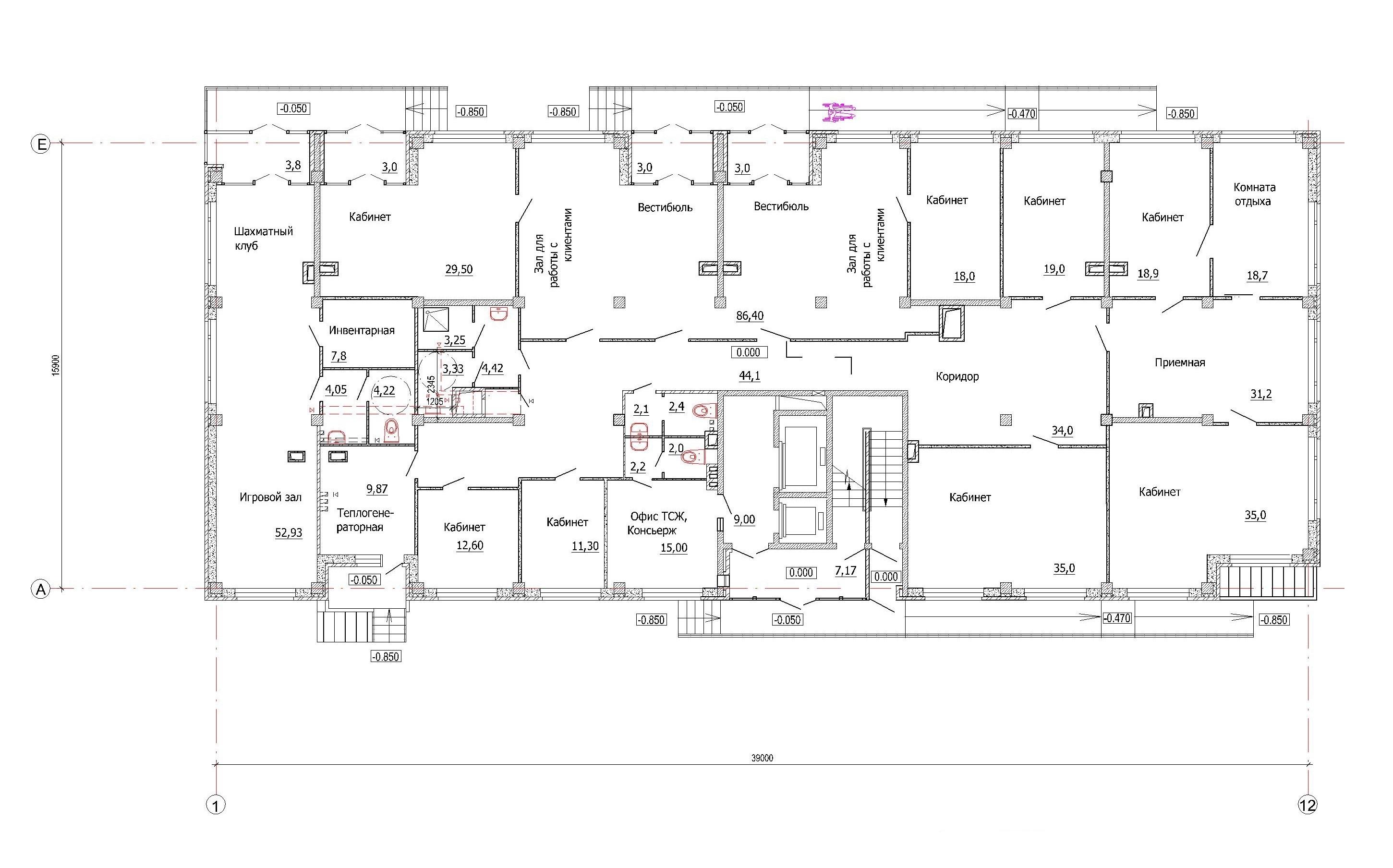 Проект 10-ти этажного многоквартирного дома. План первого этажа