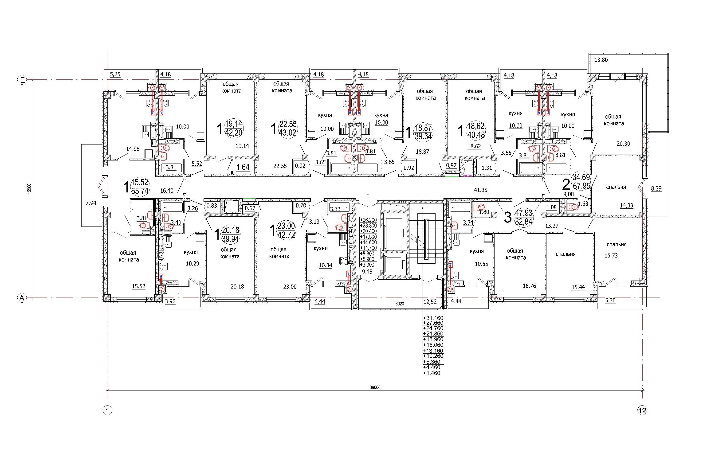 Проект 10-ти этажного многоквартирного дома. План типового этажа