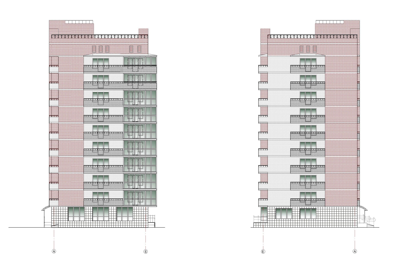 Проект 10-ти этажного многоквартирного дома. Фасады в осях А-Е, Е-А