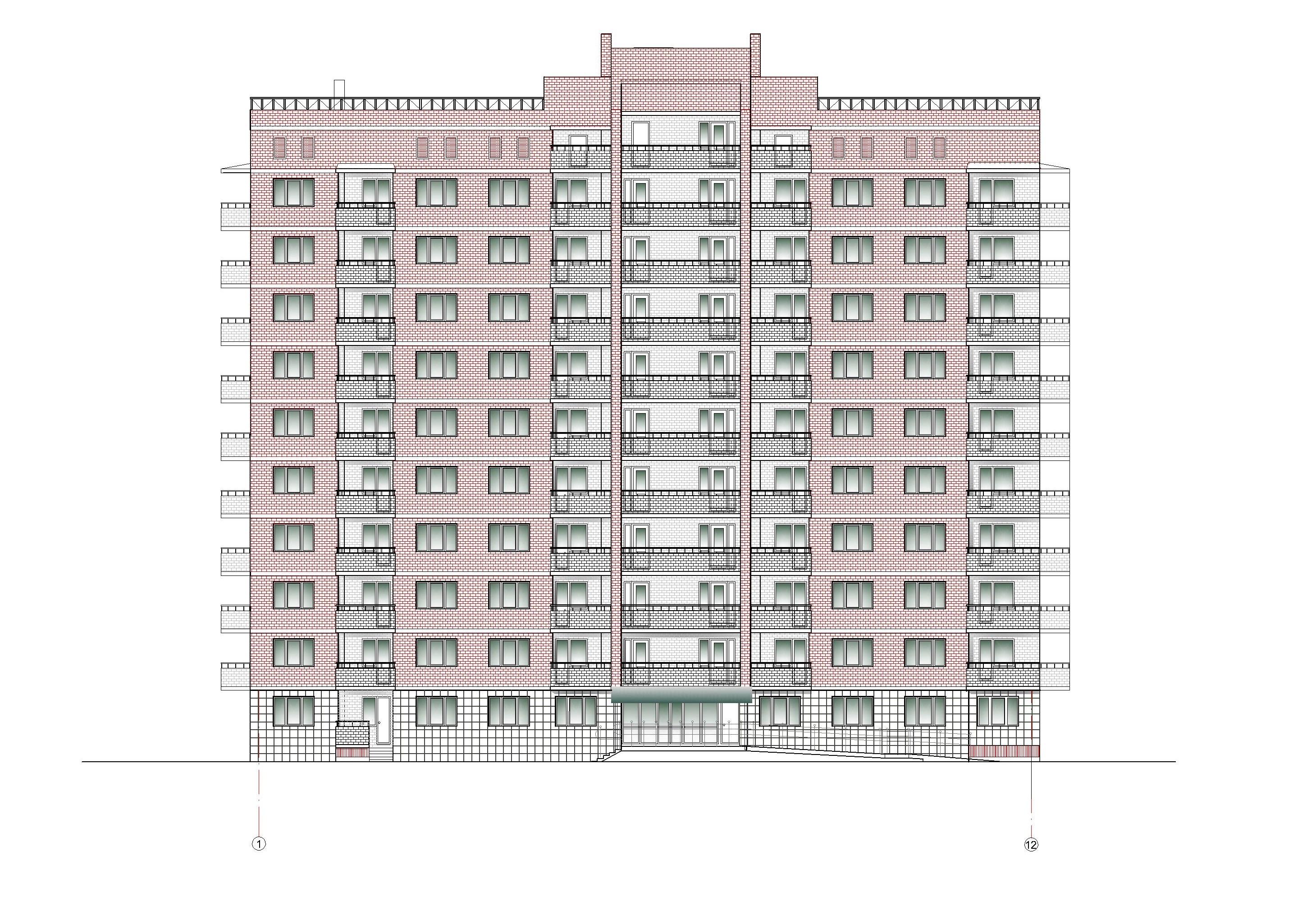 Проект 10-ти этажного многоквартирного дома. Фасад в осях 1-12
