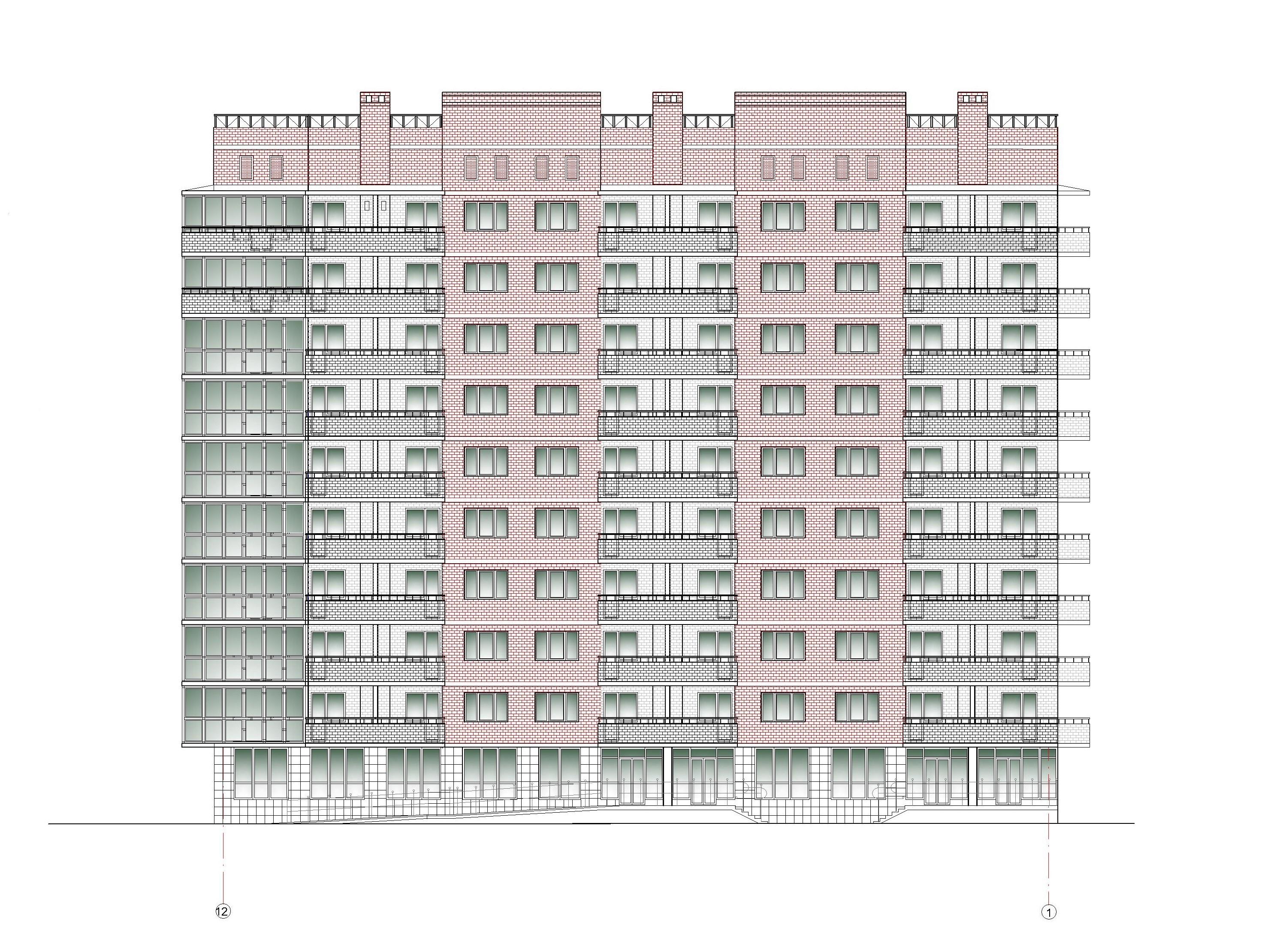 Проект 10-ти этажного многоквартирного дома. Фасад в осях 12-1