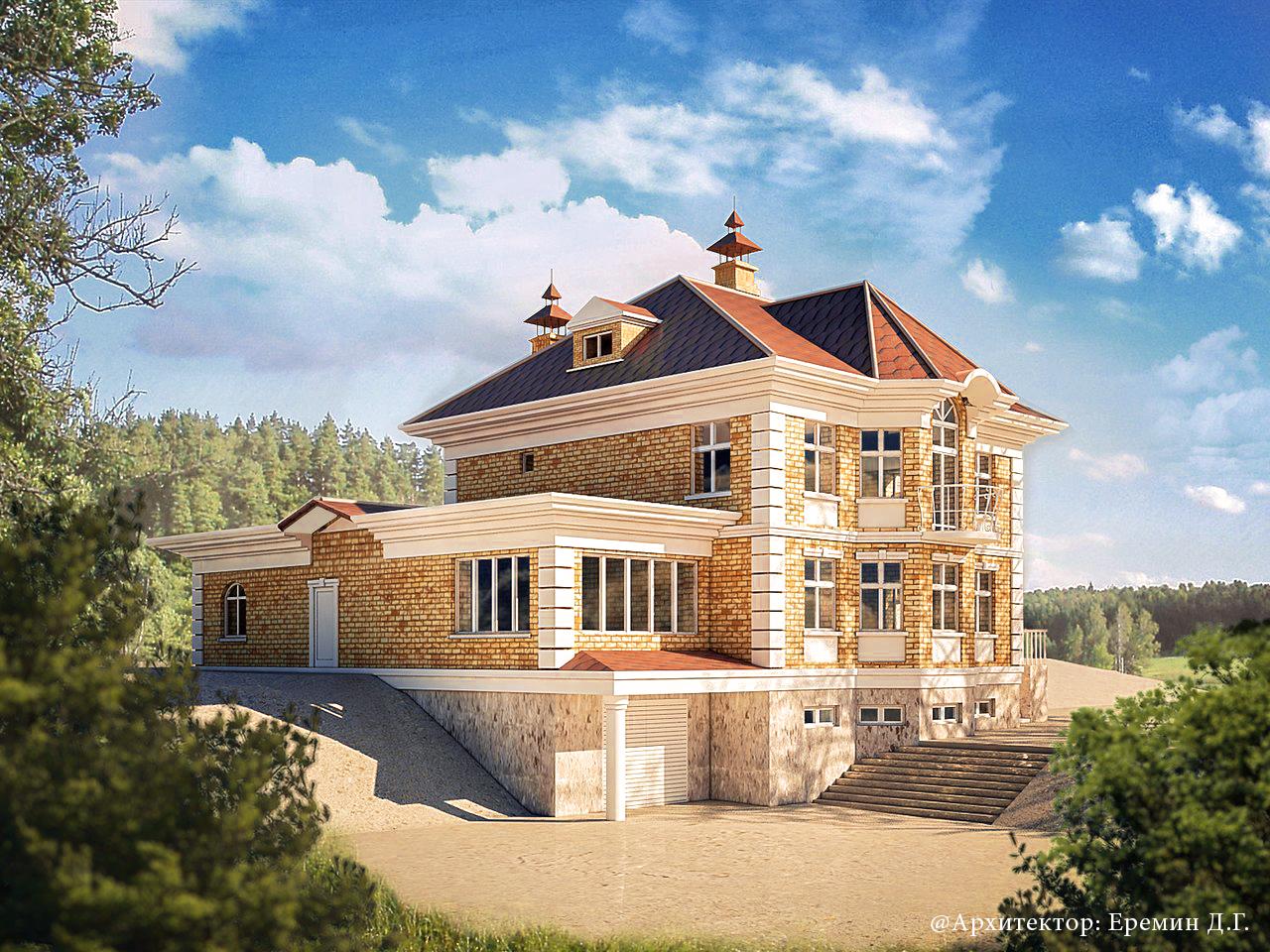 Проект коттеджа площадью 605 кв.м.