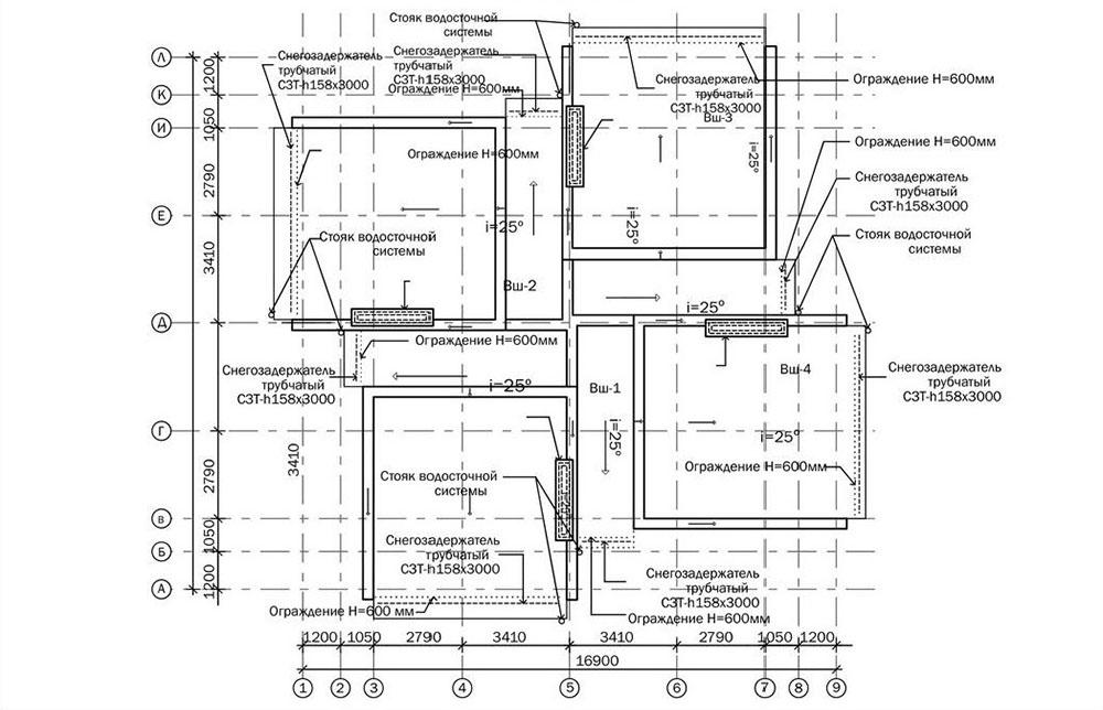 Проект трехэтажного жилого дома блокированной застройки.  План кровли