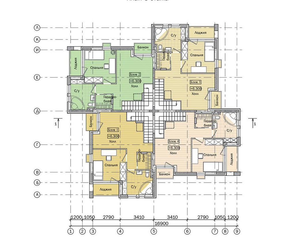 Проект трехэтажного жилого дома блокированной застройки.  План 3 этажа