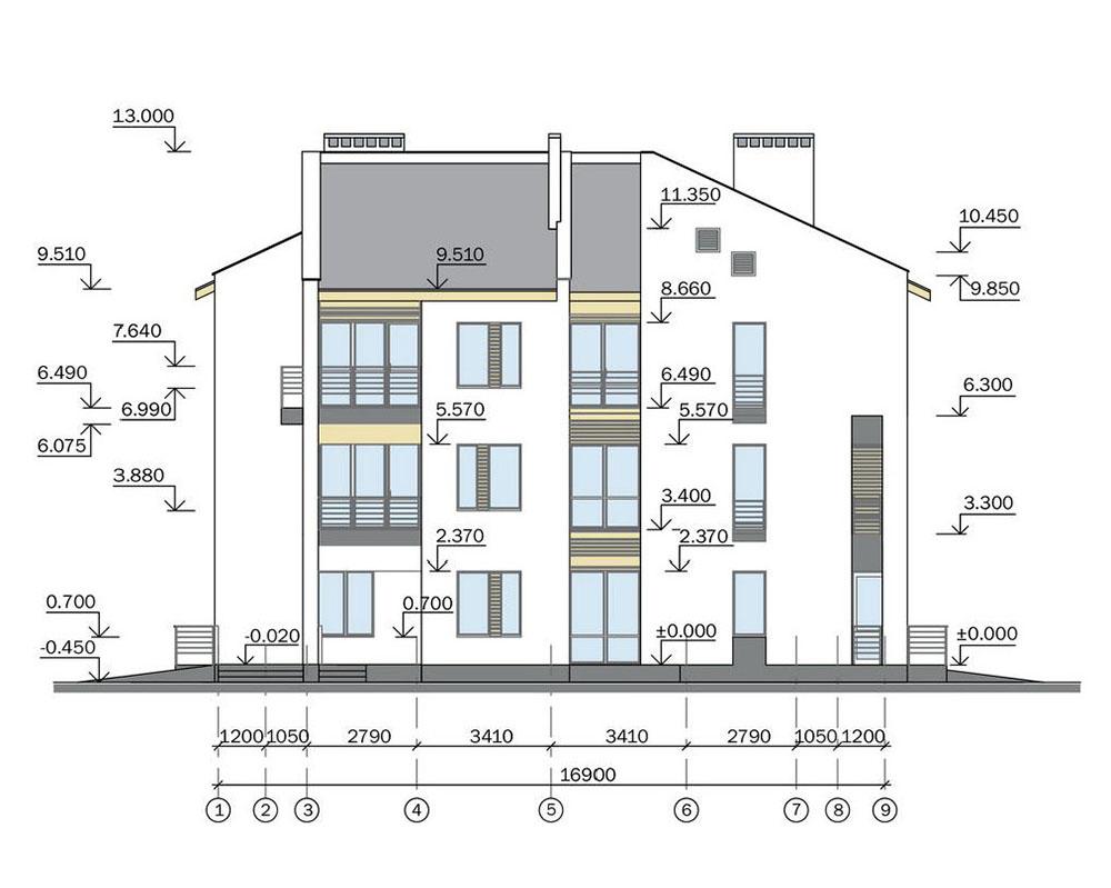Проект трехэтажного жилого дома блокированной застройки.  Фасад