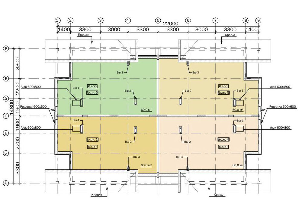 Проект двухэтажного жилого дома блокированной застройки.  План чердака