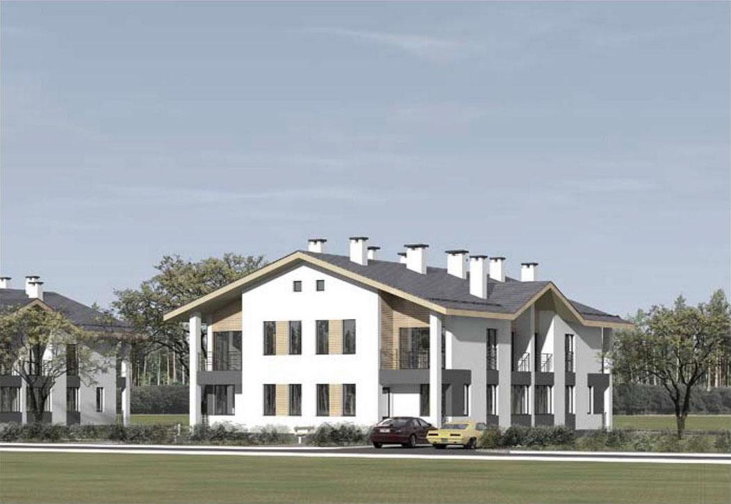 Проект двухэтажного жилого дома блокированной застройки. Визуализация