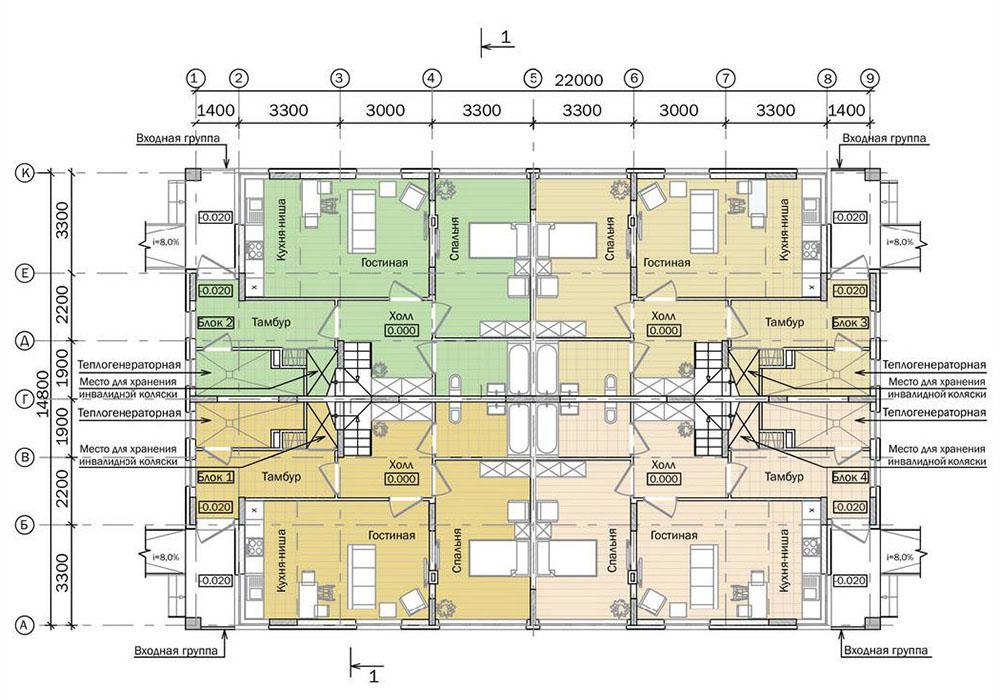 Проект двухэтажного жилого дома блокированной застройки.  План 1 этажа