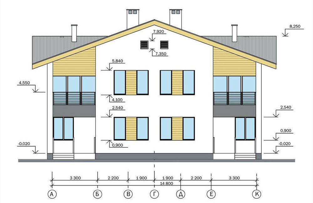 Проект двухэтажного жилого дома блокированной застройки.   Фасад  2