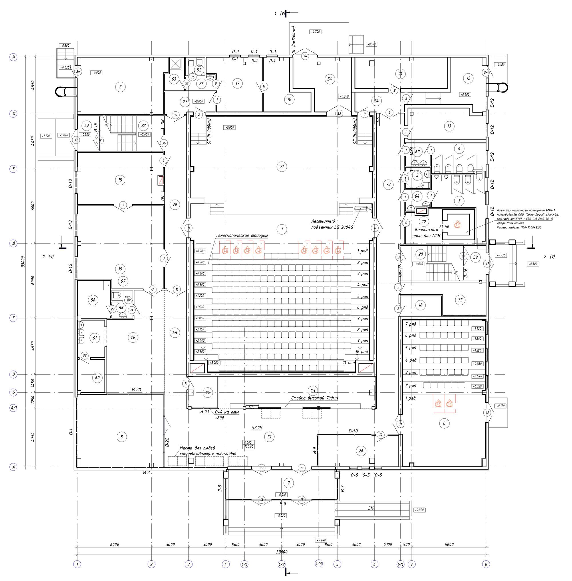 Проект центра культурного развития. План 1 этажа