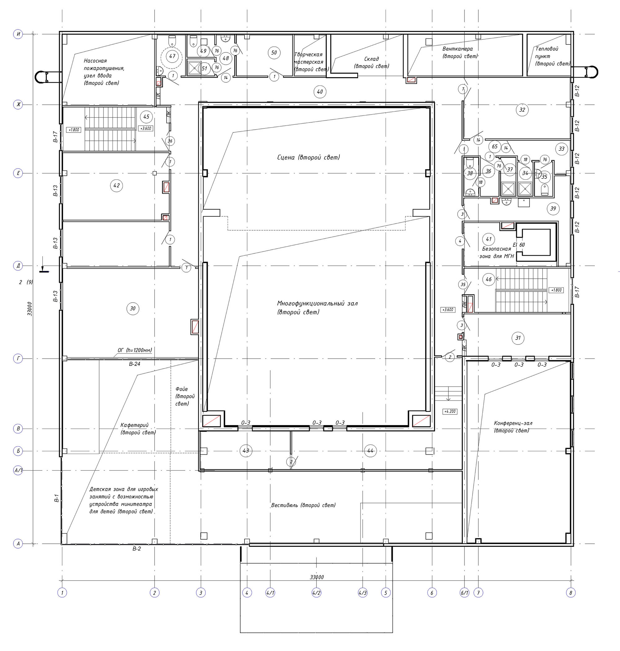 Проект центра культурного развития. План 2 этажа