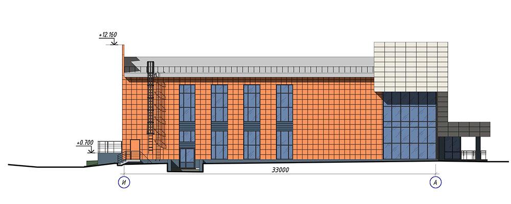 Проект центра культурного развития. Фасад И-А
