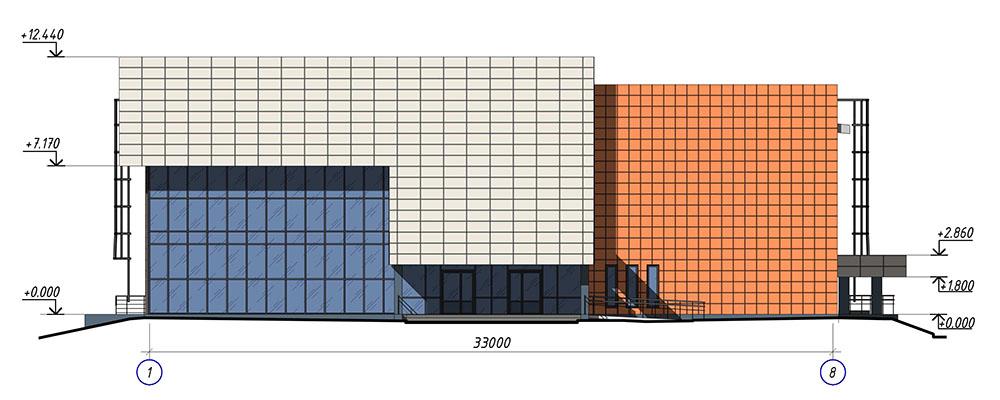 Проект центра культурного развития. Фасад 1-8