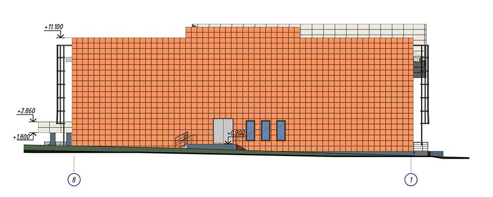 Проект центра культурного развития. Фасад 8-1
