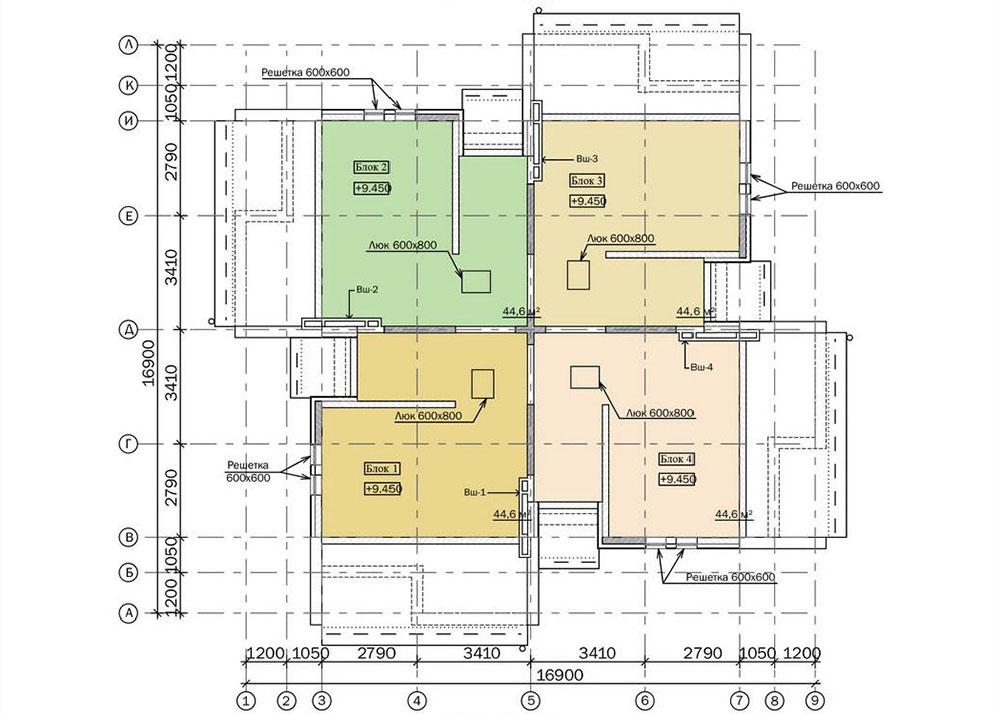 Проект трехэтажного жилого дома блокированной застройки.  План чердака
