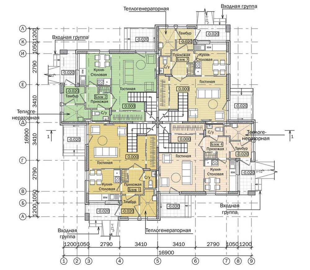 Проект трехэтажного жилого дома блокированной застройки. План 1 этажа