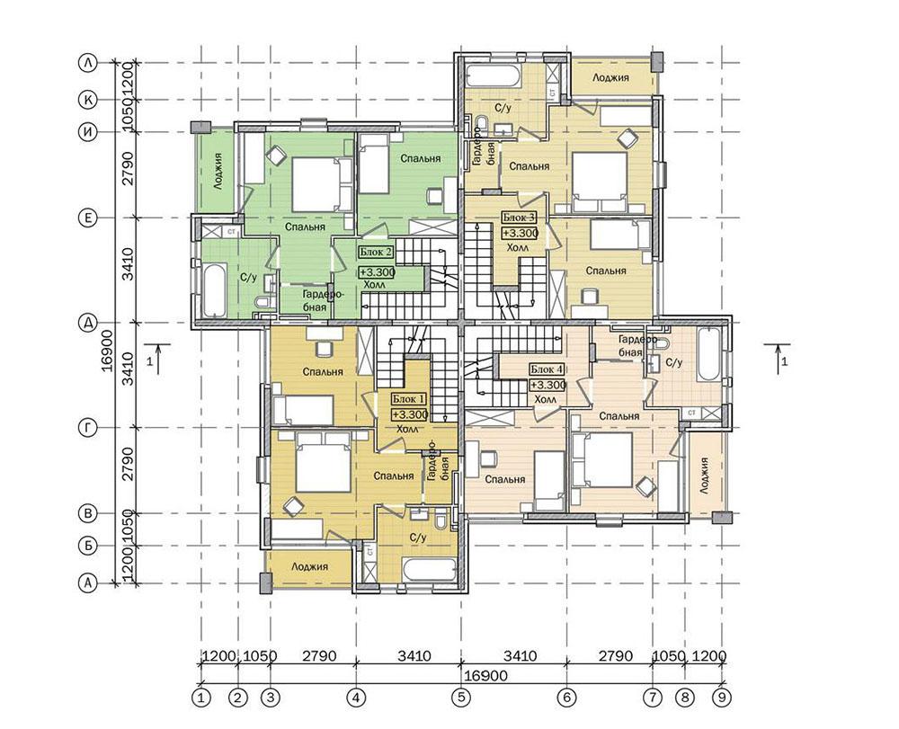 Проект трехэтажного жилого дома блокированной застройки.  План 2 этажа