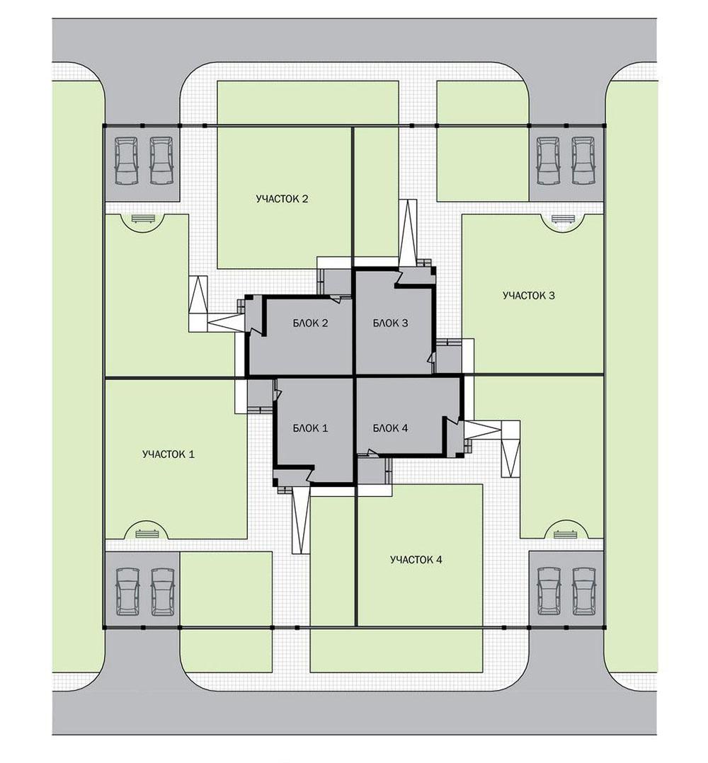 Проект трехэтажного жилого дома блокированной застройки.  Схема генплана