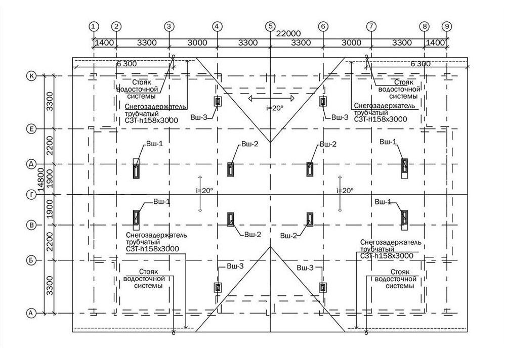 Проект двухэтажного жилого дома блокированной застройки. План кровли