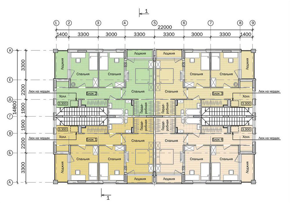 Проект двухэтажного жилого дома блокированной застройки.  План 2 этажа