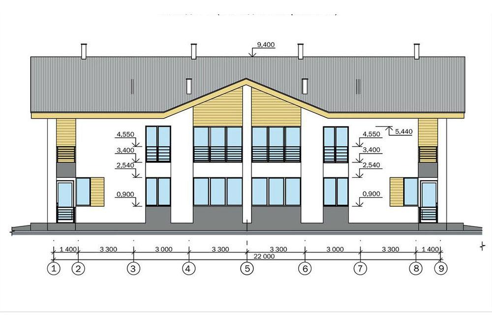 Проект двухэтажного жилого дома блокированной застройки.   Фасад 1