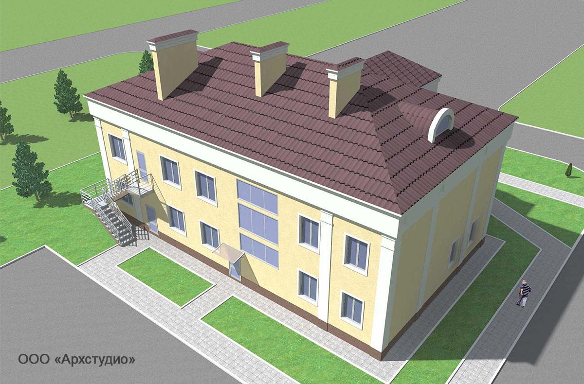 Проект административного здания.  Визуализация 4