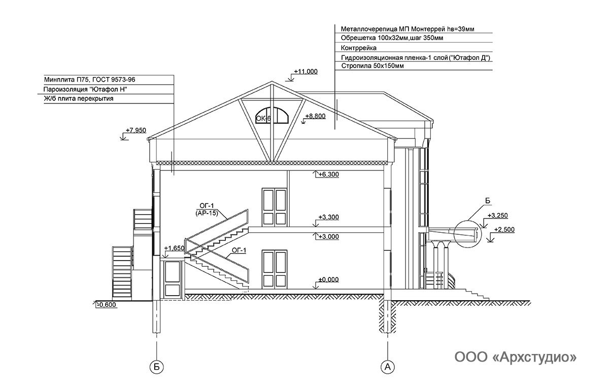 Проект административного здания.  Разрез 1-1
