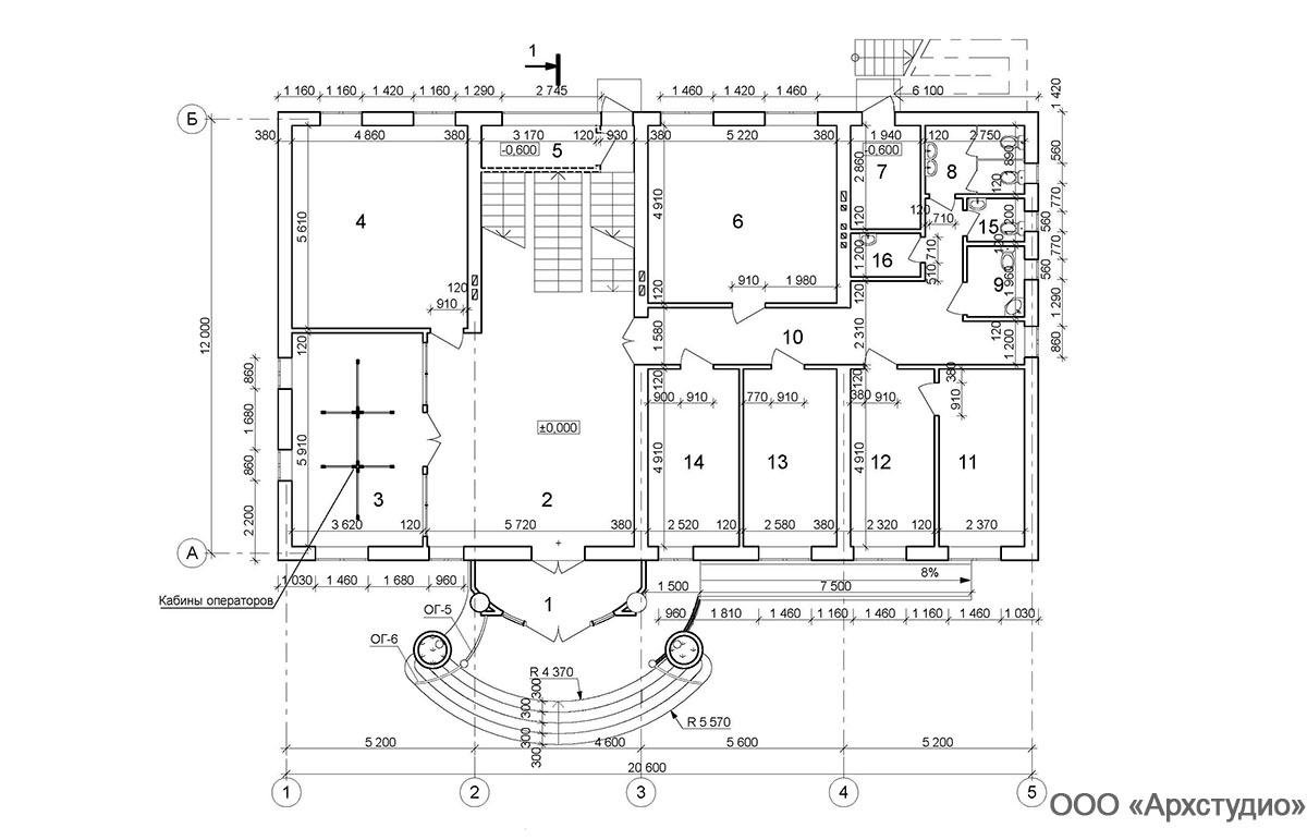 Проект административного здания.  План 1 этажа
