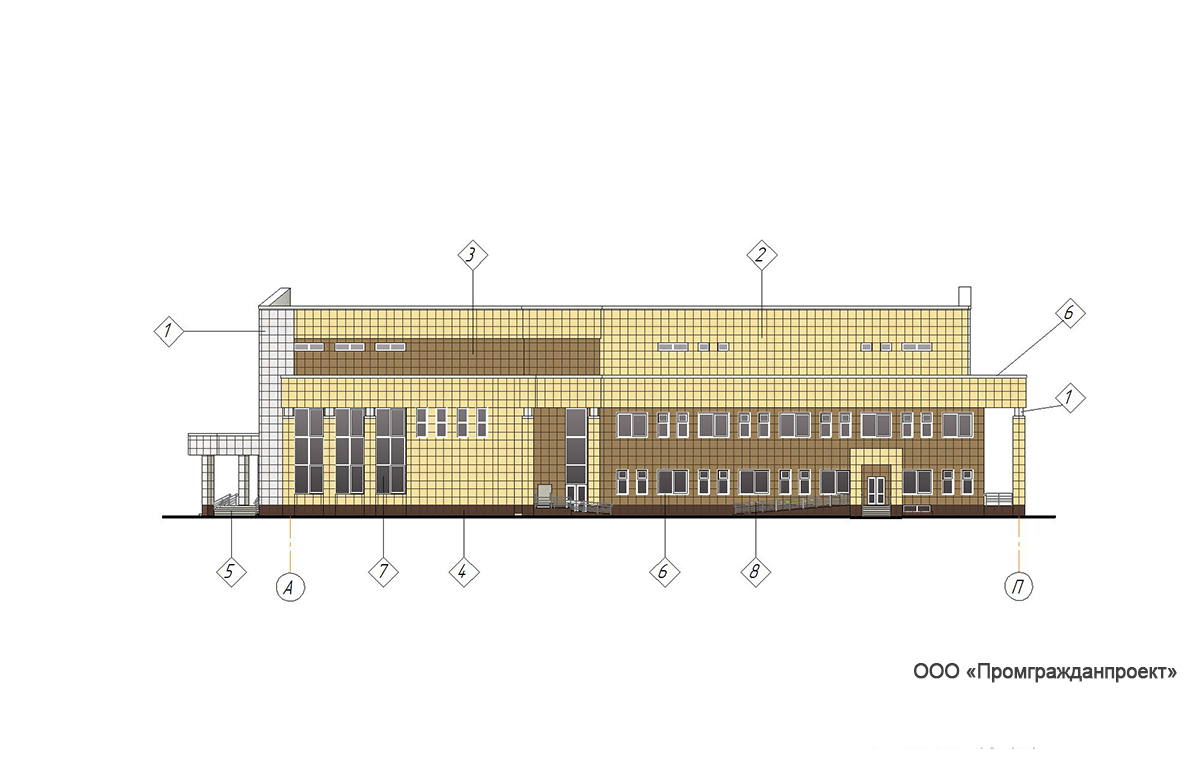 Проект центра культурного развития. Фасад в осях  А-П