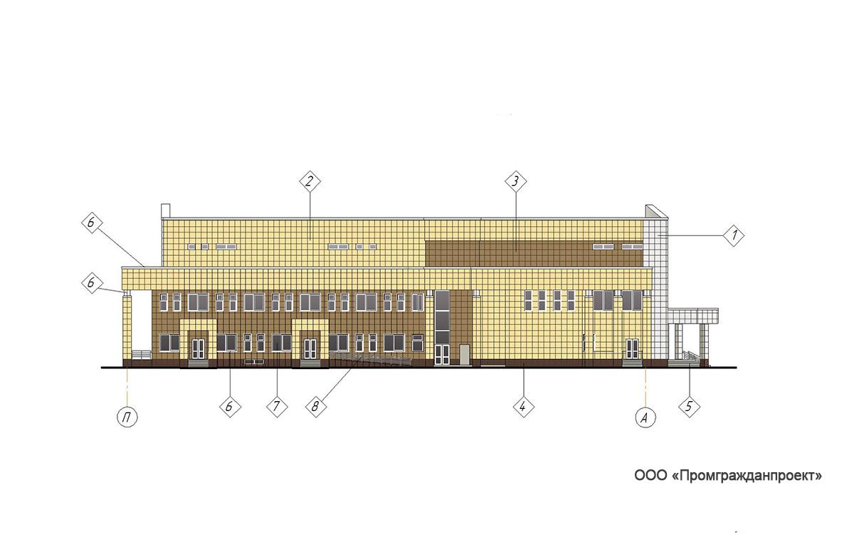 Проект центра культурного развития. Фасад в осях   П-А