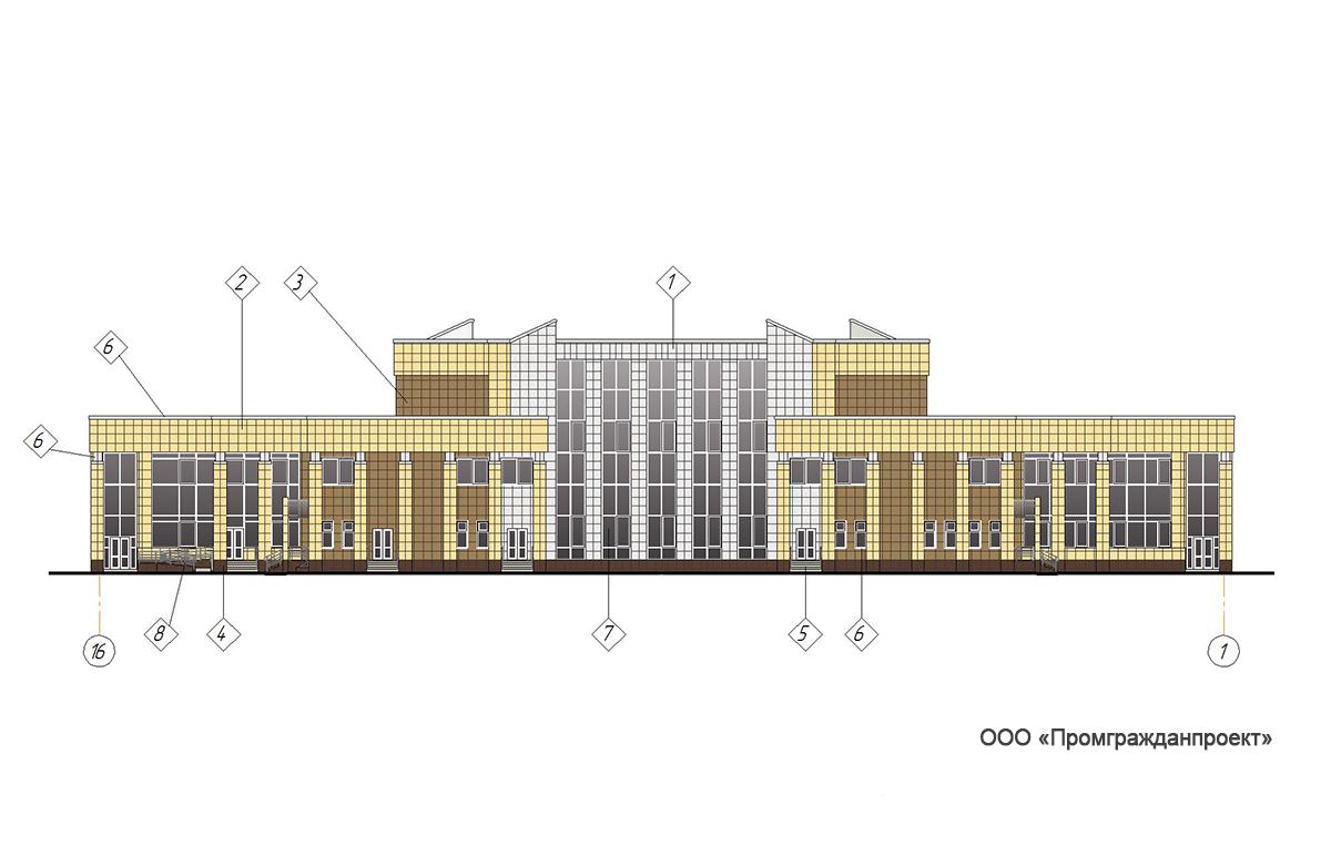 Проект центра культурного развития. Фасад в осях 16-1