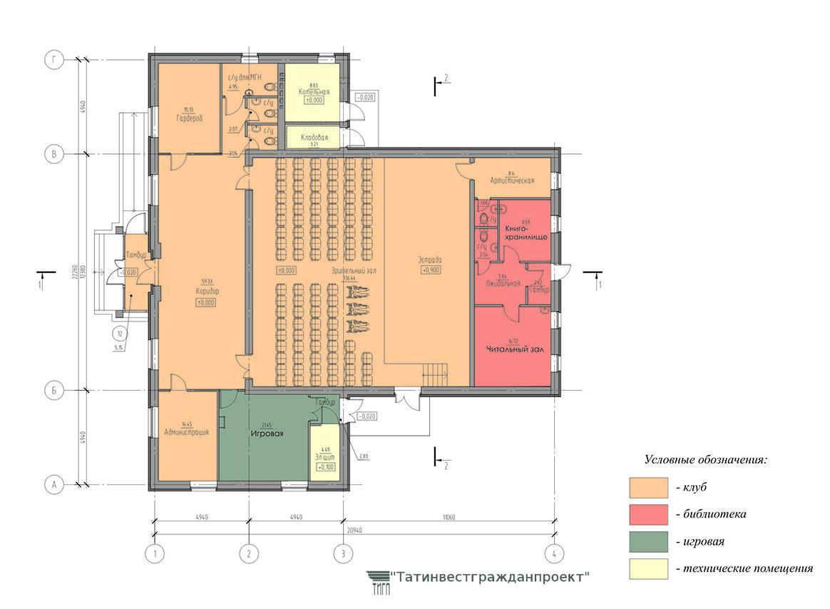 Типовой проект сельского дома культуры на 100 мес. План 1  этажа (вариант с библиотекой)