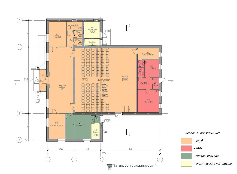 Типовой проект сельского дома культуры на 100 мес. План 1  этажа