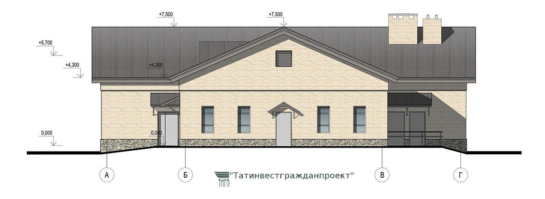 Типовой проект сельского дома культуры на 100 мес.  Фасад А-Г