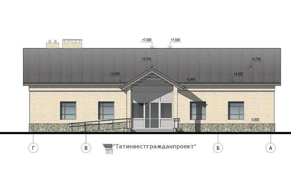 Типовой проект сельского дома культуры на 100 мес. Фасад Г-А-2