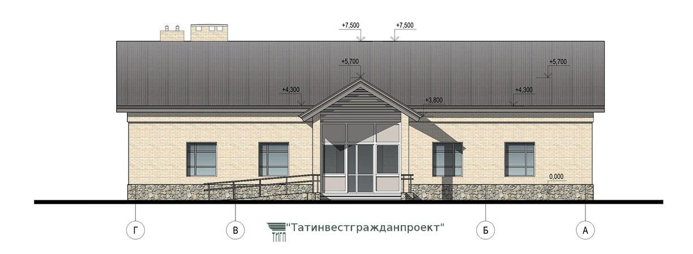 Типовой проект сельского дома культуры на 100 мес. Фасад Г-А