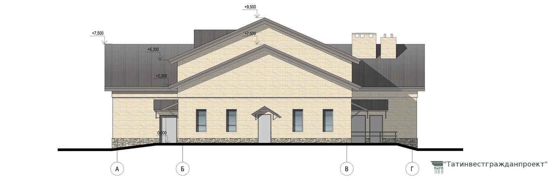 Типовой проект сельского дома культуры на 300 мест. Фасад А-Г