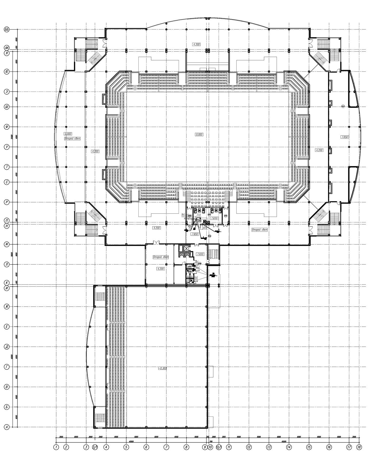 Проект центра волейбола. План на отм. +7650