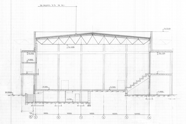 Проект центра волейбола. Разрез-2-2