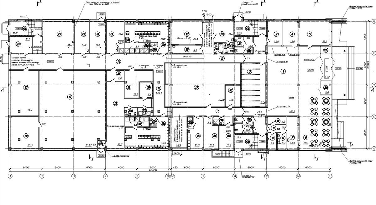 Проект плавательного бассейна. План 1 этажа