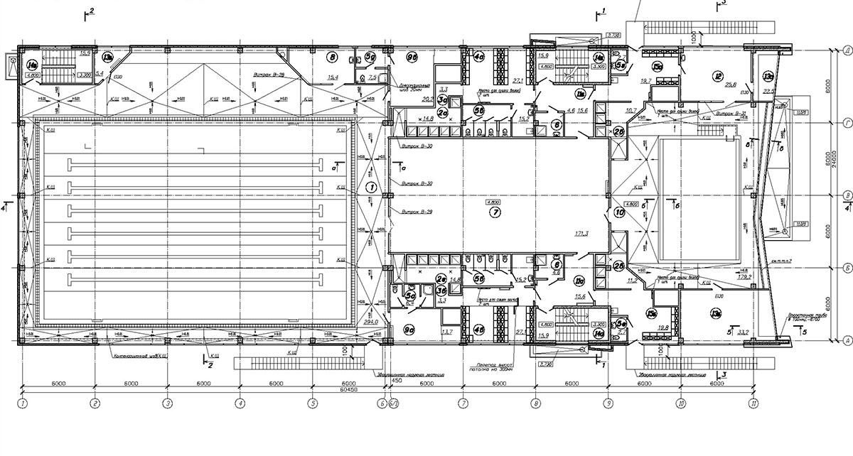 Проект плавательного бассейна.  План 2 этажа