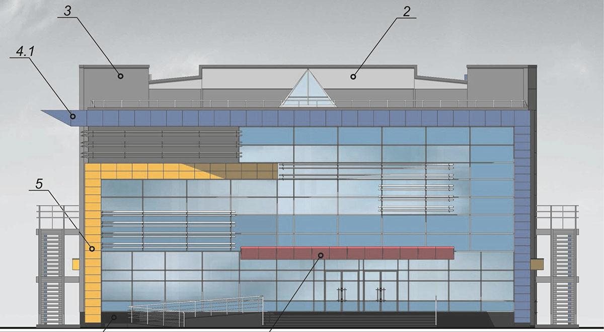 Проект плавательного бассейна.  Фасад