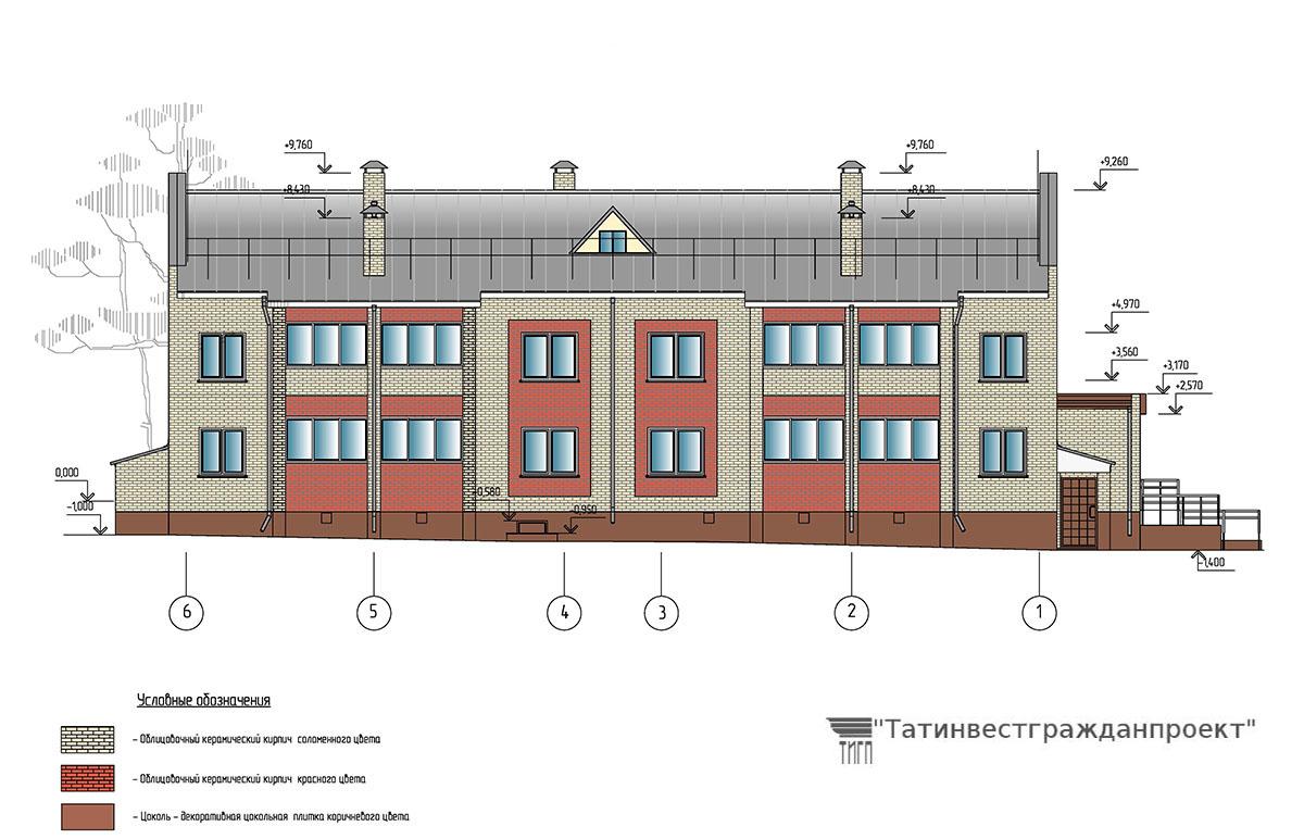 Проект 2-х этажного 16 квартирного жилого дома. Фасад в осях 6-1