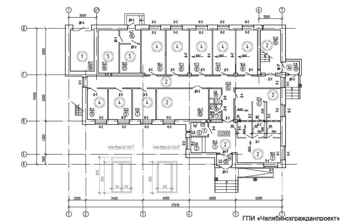 Проект административного 2-х этажного здания. План 1-го этажа