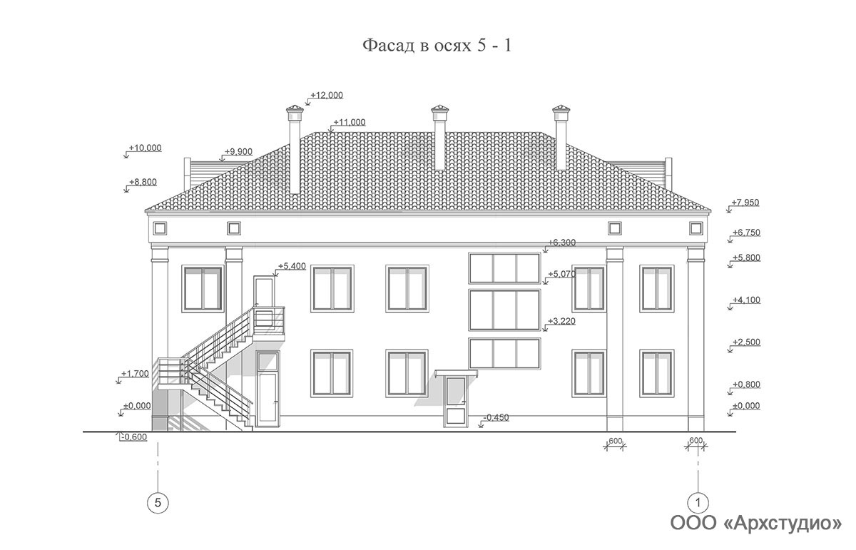 Проект административного здания.  Фасад в осях 5-1