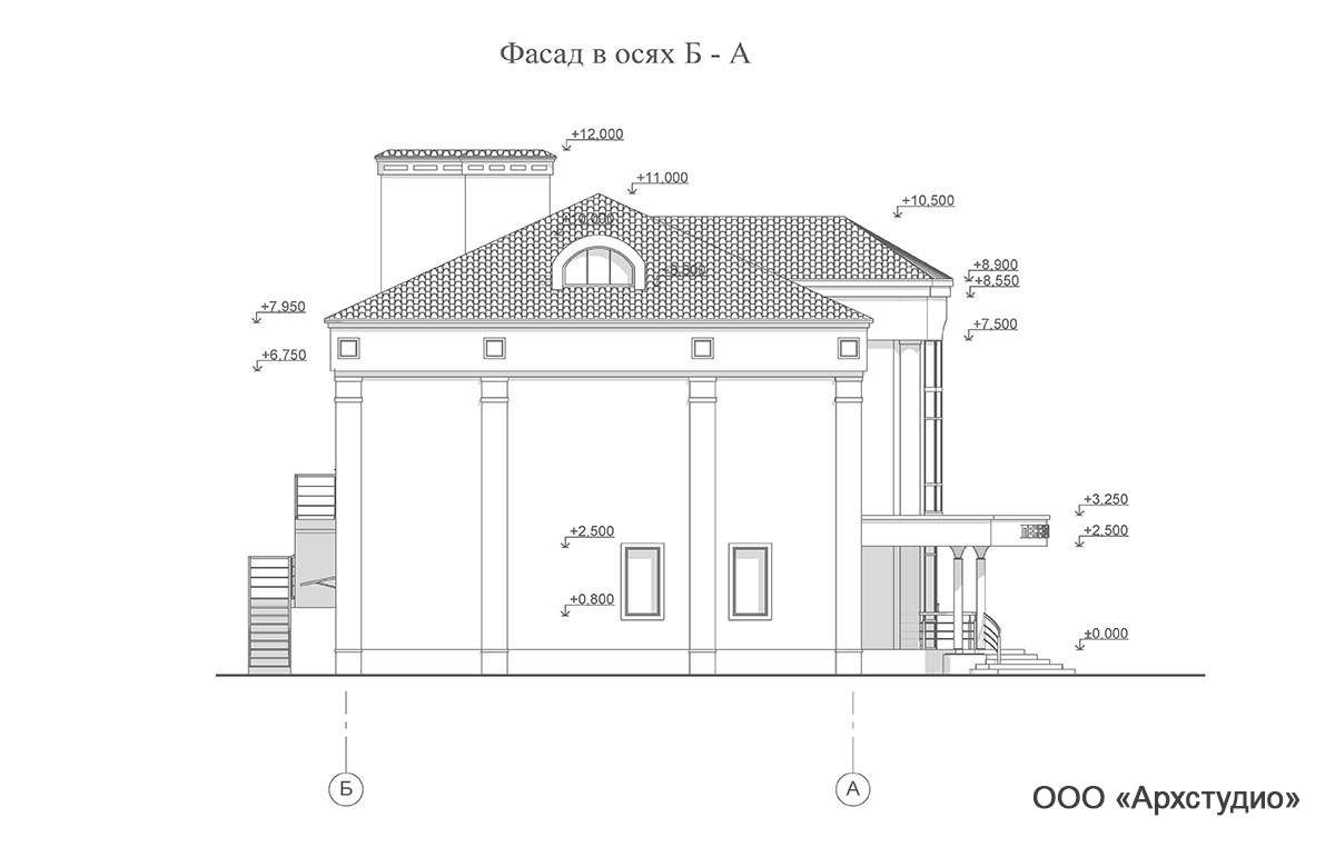 Проект административного здания.  Фасад в осях Б-А
