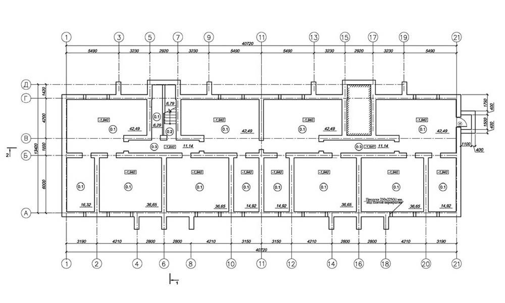 Проект 24-квартирного жилого дома. План техподполья
