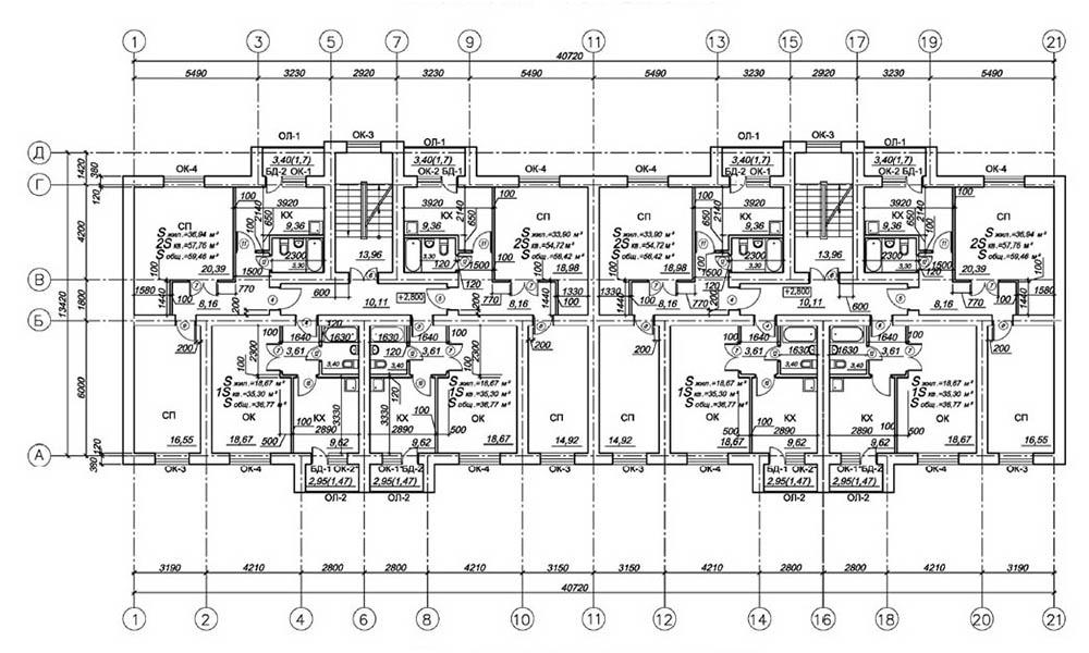 Проект 24-квартирного жилого дома. План 2-го этажа