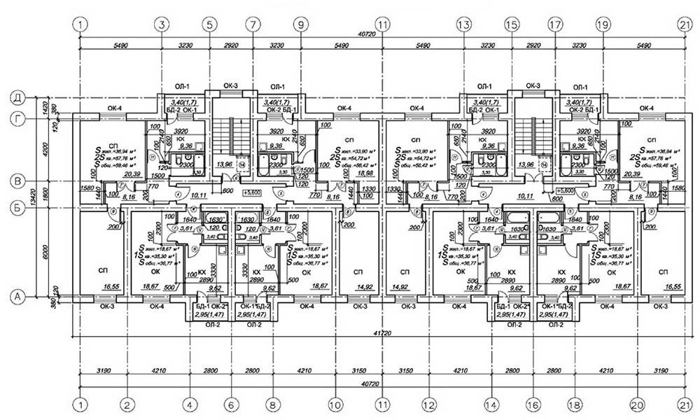 Проект 24-квартирного жилого дома. План 3-го этажа