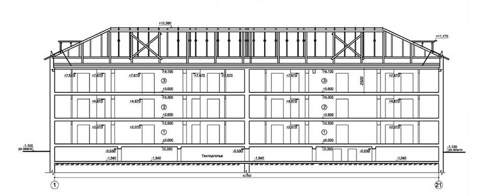 Проект 24-квартирного жилого дома. Разрез 1-1